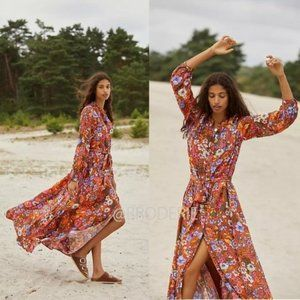 NEW Anthropologie floral Vale Maxi Shirtdress